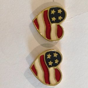 Avon USA Flag earrings gold pierced